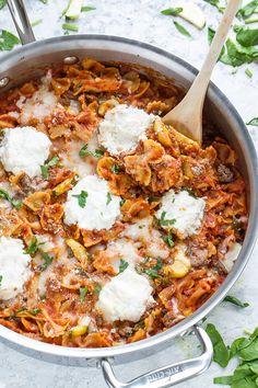 Easy Skinny Skillet Lasagna from lifemadesweeter.com on foodiecrush.com