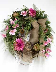 Front Door Wreath, Spring Wreath, Summer Wreaths, Apple Blossoms, Country Wreath, Burlap, Country for your Front Door -- Free Shipping