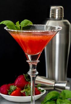 This Strawberry Basil Martini recipe combines some of the most favorite flavors of summer...strawberries and basil!