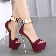 Saltos tira no tornozelo sandálias plataforma do partido sapatos para as mulheres sandálias de casamento mulheres bombas 16 cm saltos altos sandálias bombas sexy D1006