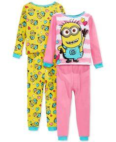 Despicable Me Little Girls' 4-Piece Minion Pajama Set