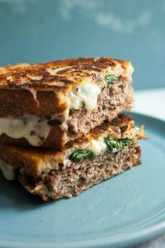 Grilled Sandwich, Sandwich Recipes, Vegan Sandwiches, Chicken Sandwich, Patty Melt Recipe, Fontina Cheese, Best Grilled Cheese, Hamburger Patties, Sauteed Spinach