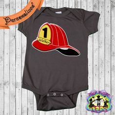 Fire Helmet Personalized Boys Birthday Creeper Bodysuit, Customized Firefighter Boys Birthday Onepiece, Cute Children's Clothes by TinyTwerpTees on Etsy https://www.etsy.com/listing/175576692/fire-helmet-personalized-boys-birthday