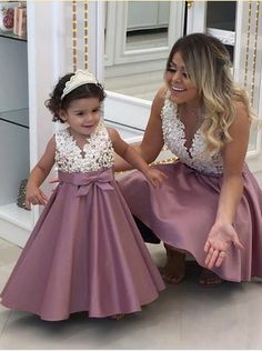 Cute Pearls Beaded Lace Satin Mother and Daughter