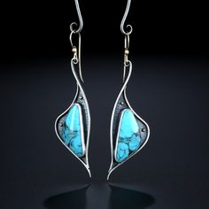Kingman Turquoise Earrings. Fabricated Sterling Silver and 14k Gold. www.amybuettner.com https://www.facebook.com/pages/Metalsmiths-Amy-Buettner-Tucker-Glasow/101876779907812?ref=hl https://www.etsy.com/people/amybuettner http://instagram.com/amybuettnertuckerglasow