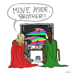 Loki and Thor solve their differences as all men should: Mario Kart. Rainbow Road/The Bifrost. xD