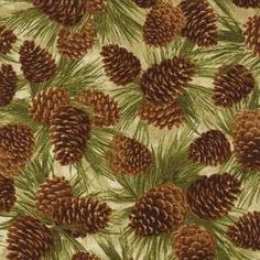 Pinecone fabric with golden and brown cones & green needles