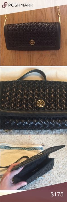 Tory burch basket weave clutch/ crossbody Worn twice tory burch black basket weave clutch  Can be used as a crossbody or clutch  4.6 H by 9 length 2 inches diameter  Beautiful condition just cleaning out closet Great deal! Tory Burch Bags Crossbody Bags