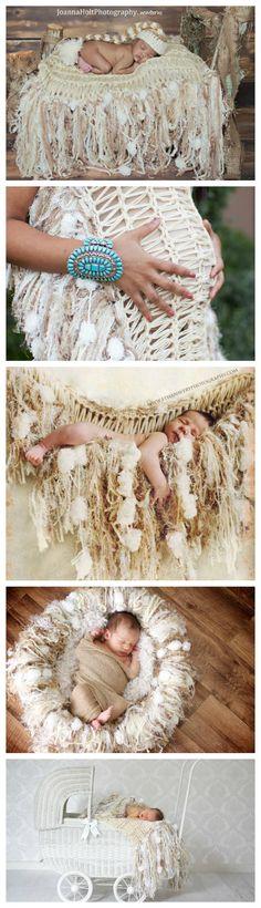 Newborn Photo Prop Blanket  Cream Beige White Tan by BabyBirdz, $95.00