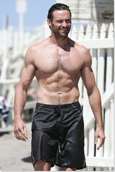 Hugh Jackman. Shirtless. Gives me a boner. Which is odd? Since my penis is in fact---a vagine, but no matter. HOT.