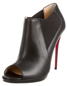 Christian Louboutin Leather Stiletto Black Boots
