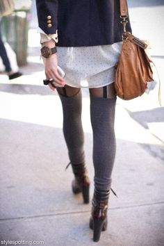 Faux garter tights