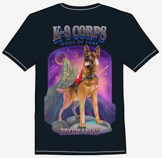 K-9 CORPS DOGS OF LORE A rescue dog stands ready for action in an otherwordly scene. This champion German Shepherd is proudly wearing it's uniform, surveying a dreamlike, surreal landscape and star-splattered purple sky. He's a breed apart, eagerly anticipating a chance to search for lost hikers and help guide them to safety. Purple Sky, Tee Shirts, Tees, Rescue Dogs, Champion, Safety, German, Lost, Scene