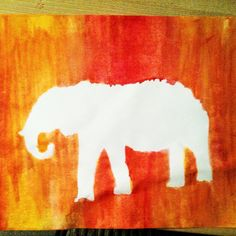 Elephant Watercolor silhouette