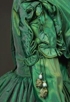 MODA, COLECCIONISMNO Y ANTIGUEDADES ~Green silk dress 1840s~ Tasha Tudor Historic Costume Collection