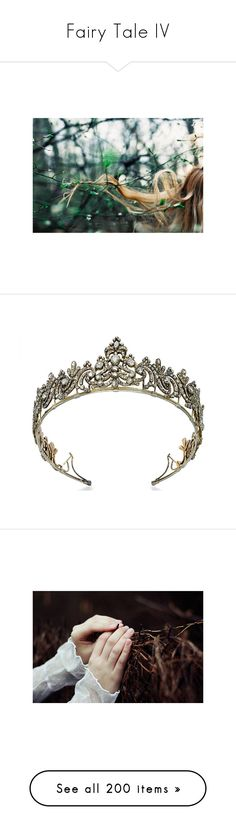"""Fairy Tale IV"" by homeless-drifter ❤ liked on Polyvore featuring crowns, tiaras, accessories, jewelry, hair accessories, circle, circular, round, dresses and tops"