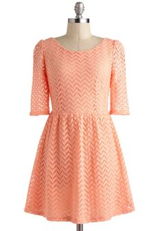 Peach Party Dress - Mid-length, Pink, Solid, Crochet, Casual, Daytime Party, A-line, 3/4 Sleeve, Pastel