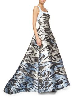 Carolina Herrera Embroidered Lace Pleated Gown - ShopStyle Evening