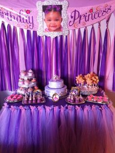 Sofia the First dessert table. DIY table cloth backdrop. Sofia the 1st birthday banner - replaced princess Sofia picture with DIY glitter picture frame. Tulle tutu table skirt.