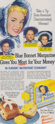 1950s Blue Bonnet Margarine Ad Vintage Advertising Illustrated Print, Retro…