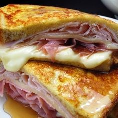 Monte Cristo...favorite sandwich!  We use american cheese and add bacon tomato and lettuce. YUM