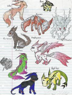 this is just a random doodle, that I think any one who plays pokemon and draws eventually comes up with. more eeveelutions. Pokemon Eeveelutions, Mega Evolution, Play Pokemon, Anime Wolf, Fantasy Creatures, Childhood Memories, Doodles, Deviantart, Cartoon
