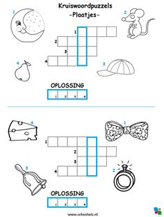 Mini kruiswoordpuzzel 2. #puzzels #kruiswoordpuzzels #kinderpuzzels #plaatjes #schoolwiz Teach Like A Champion, Curriculum, Homeschool, Dutch Language, Puzzles For Kids, Writing Practice, Creative Teaching, Kindergarten Math, Toddler Crafts