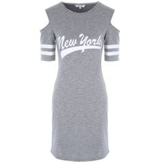 Womens Grey Cold Shoulder T-Shirt Dress ❤ liked on Polyvore featuring dresses, grey t-shirt dresses, cold shoulder dress, cut out shoulder dress, grey dress and t-shirt dresses