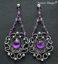 Baroque-Fine999/sterling silver,Purple amethyst post chandelier earrings | von VaniniDesign