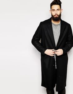 ASOS Wool Overcoat With Raw Edges