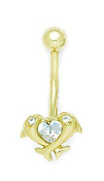 14k Yellow Gold CZ 14 Gauge Dangling Dolphins Body Jewelry Belly Ring - Measures 24x11mm JewelryWeb. $222.50. Save 50%!