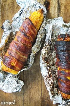 "Grilled Bacon-Wrapped Corn on the Cob | ""This corn was amazing! The ..."