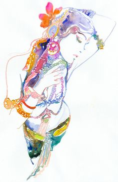 Fashion Print of Watercolor Painting Fashion by silverridgestudio, $35.00