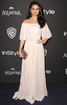 Selena Gomez in an off-white flutter-sleeve J. Mendel dress