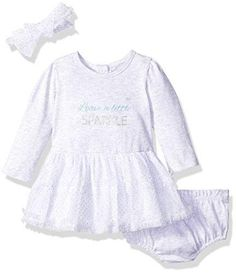Vitamins Baby Girls' Perfect Picture 3 Piece Tulle Dress Set Leave a Little Sparkle 6 Months