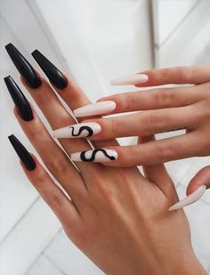 Acrylic nail designs 437341813816972544 - 53 Hottest Acrylic Coffin Nails Design For Spring Long Nails – Latest Fashion Trends For Woman Source by Black Acrylic Nails, Summer Acrylic Nails, Best Acrylic Nails, Long Black Nails, Spring Nails, Summer Nails, Matte Black, Acrylic Nail Designs Coffin, Wedding Acrylic Nails