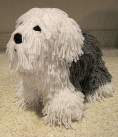 Crocheted Old English Sheepdog PDF Pattern by ScareCrowOriginals. He awesome is this! Crochet Crafts, Crochet Dolls, Crochet Projects, Crocheted Toys, Knitted Dolls, Crochet Dog Patterns, Amigurumi Patterns, Single Crochet Decrease, Old English Sheepdog