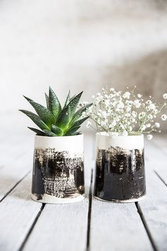 Ceramic Planter,Small Vase,Black And White Planter,Air Plant Succulent,Ceramic Pottery Gift,Valentine Day Gift  This special and unique planter will certainly give a whole different look to your plants shelf. It is created in slip casting technique and finished with a shiny glaze. The brush strokes are hand-made in slip coloring.   ><><><><><><@@@><><><><><><  - Size: 4.5 H x 2.9 W / 10.5 cm H x 8 cm W - Color: wite...
