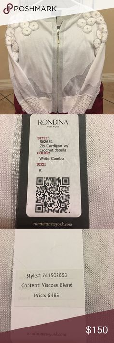 NWT Rondina New York high fashion sweater. Size S NWT white and silver sweater jacket with pearls. Zip cardigan with crochet details. Style # 741502651. Purchased in Rondina New York City. Viscous Blend. 2 beautiful zippers with detail. Rondina Sweaters Cardigans
