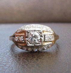 Vintage Diamond Cluster Ring  14K Yellow & White Gold by Ringtique