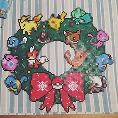 Pokemon Christmas wreath perler beads by metteoandersen
