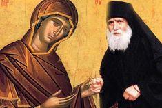 Saint Paisios with Panagia. Orthodox Icons, Christian Faith, Mona Lisa, Prayers, Artist, Artwork, Painting, Philosophy, Christmas