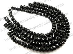 Black Spinel Faceted Rondelle Quality A Pack by GemstoneWholesaler