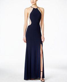 Xscape Dazzling Illusion Halter Gown | macys.com