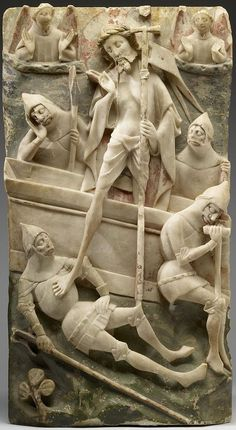 Panelled altarpiece section with Resurrection of Christ, English Nottingham alabaster, 1450–90, with remains of colour