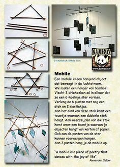 mobile van bamboe en elastiek (bamboestieken)