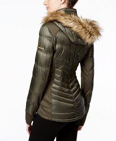 MICHAEL Michael Kors Faux-Fur-Trim Mixed-Media Puffer Coat | macys.com