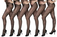 Isadora Paccini Women's 6-Pack Fishnet Lace Pantyhose Tights, One Size Fits Most, Black 809