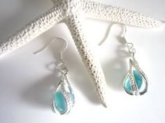 Aqua Sea Glass Locket earrings sterling ear wires by AgapiSeaGlass, $25.00