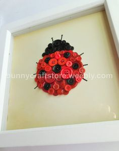 Button Art Lady Bug by BunnyCraftStore on Etsy
